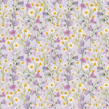 Photo pour Beau motif floral sans couture avec aquarelle dessinée à la main doux fleurs d'été. Illustration de stock . - image libre de droit