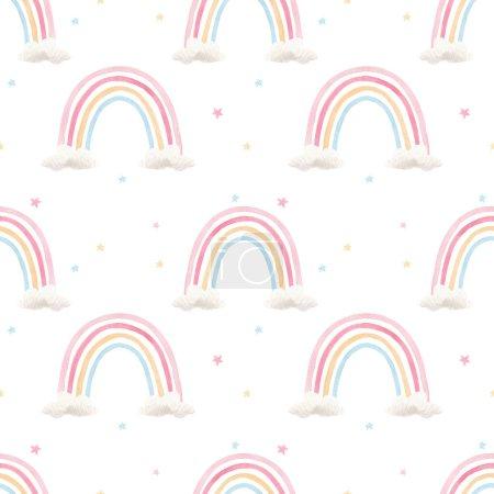 Schöne nahtlose Muster mit Aquarell bunte Regenbögen. Archivbild.
