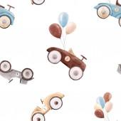 Watercolor baby car vector pattern