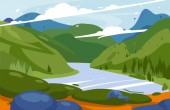 Amazing mountains green landscape vector illustration National park background