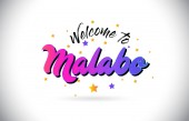 Malabo Welcome To Word Text with Purple Pink Handwritten Font and Yellow Stars Shape Design Vector Illusration