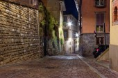 Bergamo, Italy August 18, 2018: on the narrow street of the old. evening city.
