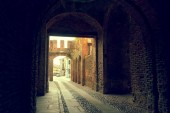 Montagnana, Italy August 6, 2018: City fortress High walls of red brick