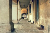 Montagnana, Italy August 6, 2018: Beautiful city street with pedestrian arches