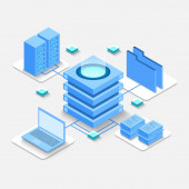 Computation of big data center information processing database internet traffic routing server room rack isometric vector technology