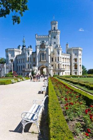 HLUBOKA NAD VLTAVOU, CZECH REPUBLIC - JUL 2, 2018: neo-gothic castle and gardens Hluboka near Ceske Budejovice, South Bohemia, Czech republic. National cultural landmark.
