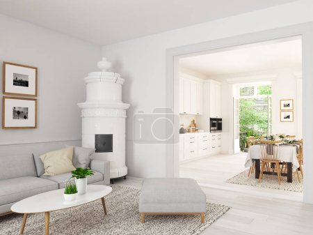 salle de séjour avec une cuisine nordique dans appartement loft. rendu 3D