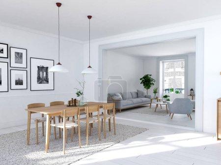 Photo pour Rendu 3D de la salle à manger moderne dans un loft . - image libre de droit
