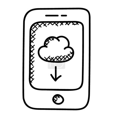 Mobile Cloud Computing Flat vector icon.
