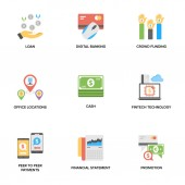 Banking and Finance Flat Icons Set