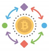 Dually pointing arrows with nodes and chain covering bitcoin symbolising bitcoin process