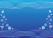 Waves and water bubbles blue abstract background with a space Format vector and jpg