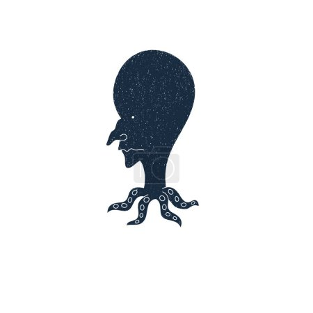 Man squid icon vector. Hand drawn vector illustrat...