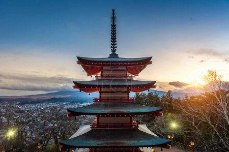 The red chureito pagoda at sunset, Japan.