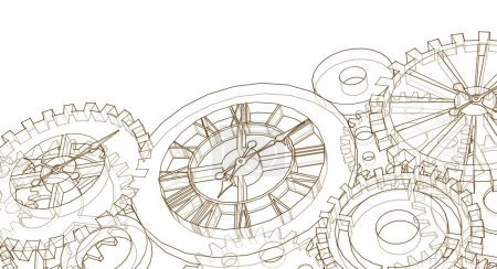 Photo for Clock mechanism graphic symbol 3d illustration - Royalty Free Image