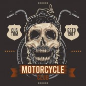 The skull biker on the background of the wheels and steering wheel