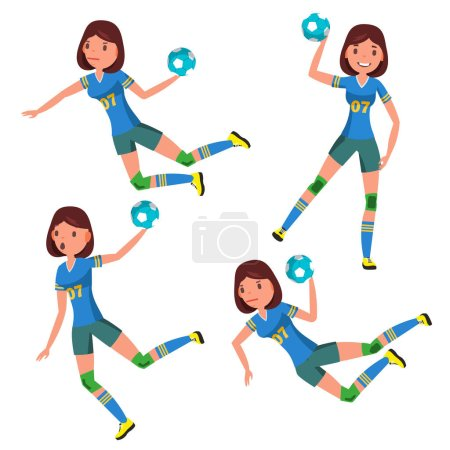 Handball Player Female Vector. Player In Attack. Corporate Branding Identity. Isolated Flat Cartoon Character Illustration
