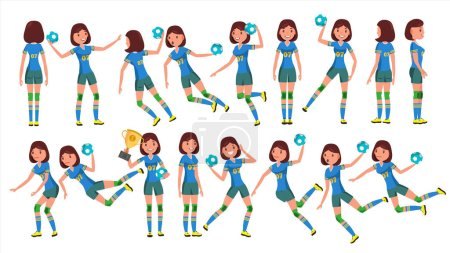 Handball Female Player Vector. In Action. Sport Event. Energy, Aggression. Cartoon Character Illustration
