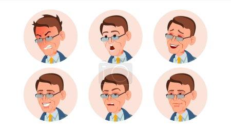 Illustration pour Business Avatar Man Vector. Émotions faciales. Portrait d'utilisateur. Employeur moderne. Divers Head. Communication. Illustration de dessin animé plat isolé - image libre de droit