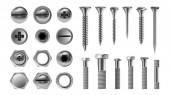 Metal Screw Set Vector Stainless Bolt Hardware Repair Tools Head Icons Nails Rivets Nuts Realistic Isolated Illustration