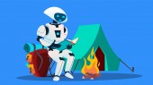 Robot Reading A Book Near Fireplace Vector Isolated Illustration