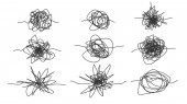 Monochrome Freehand Drawn Scrawl Sketch Set Vector