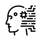 Cyborg Artificial Intelligence Vector Sign Icon