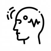 Brain Telepathic Control Vector Thin Line Icon