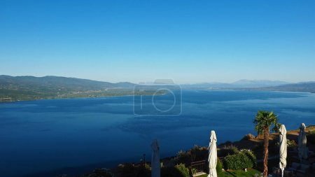 Photo for View of lake Trihonida from the eastern shore close to the village of Thermo in western Greece - Royalty Free Image