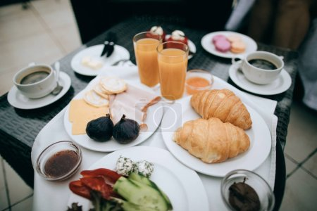 Photo for Breakfast with croissants and coffee - Royalty Free Image