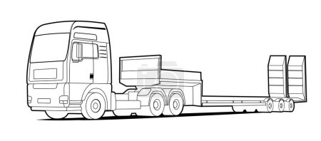 Illustration for Vector truck; outline, contour tractor, low loader trawl for transportation of road equipment, tractors, graders, scrapers, bulldozers. For coloring book. - Royalty Free Image