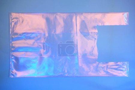 Plastic bag on trendy blue