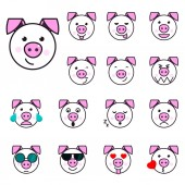 Big Pig Set of 15 high quality vector cartoonish emoticons in rough design style