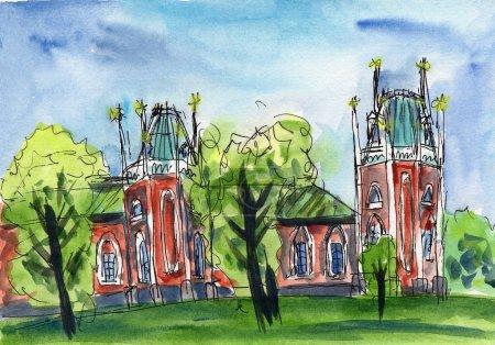 Foto de Boceto urbano acuarela ilustración palacio edificio arquitectura cultura torre histórica parque jardín verde árboles cielo azul - Imagen libre de derechos