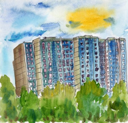 Photo pour Dessin urbain croquis aquarelle illustration été ville rue jardin parc maison - image libre de droit