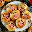 Cute pig buns with sausages - symbol of 2019, the ...