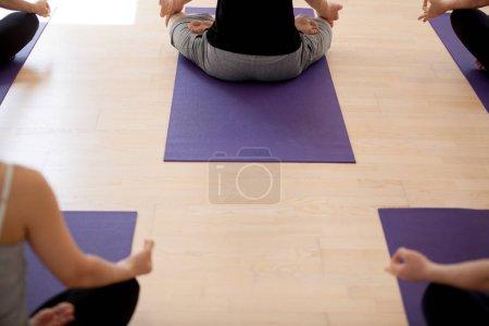 Photo pour Groupe de jeunes sportifs pratiquant le yoga, faisant de l'exercice Sukhasana, pose facile, étudiants travaillant à l'intérieur dans un club de sport, studio, vue arrière rapprochée. Concept de pleine conscience, bien-être, bien-être - image libre de droit
