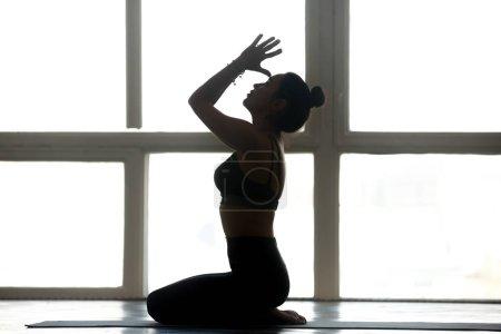 Foto de Joven mujer atractiva deportiva practicando yoga, hacer seiza ejercicio, postura vajrasana con namaste, trabajando, con ropa deportiva, interior completas, en silueta de yoga studio - Imagen libre de derechos
