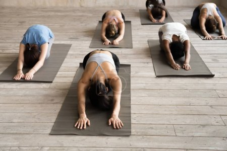 Photo for Group of young sporty people practicing yoga lesson, doing Child exercise, Balasana pose, working out, indoor full length, female students training at club, yoga studio. Well being, fitness concept - Royalty Free Image