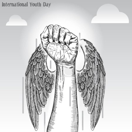 Illustration for International Youth Day, IYD is an awareness day designated by the United Nations. The purpose is cultural and legal issues surrounding youth.  Annual celebration on August 12. Vector. - Royalty Free Image