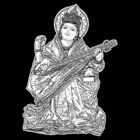Hand drawn illustration of Goddess Saraswati for Vasant Panchami Puja of India. Goddess of learning, music, art and wisdom. Vector.