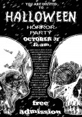 Stylish black and white Halloween invitation poster and card with skulls background Printable hand drawn Halloween greeting flayer template with space for text Vector