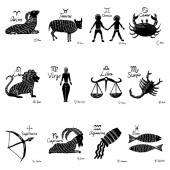 The zodiac set 12 horoscope constellations with connected symbols drawings and planets with names Vector