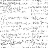 Math seamless board with handwritten mathematical and physics fo