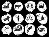 The 12 Zodiacal signs constellations with illustration of horosc