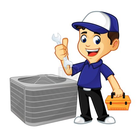 Illustration pour Hvac Cleaner ou technicien tiennent clé et illustration de bande dessinée boîte à outils, peut être téléchargé au format vectoriel pour une taille d'image illimitée - image libre de droit