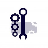 Layout logo for a car repair shop Wrench and nuts close-up