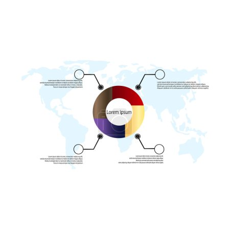 Photo for Vector template step by step circular business diagrams with world map. Infographics - business statistics and analytics. Four-part circular gradient chart with description - Royalty Free Image
