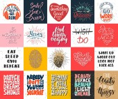 Set of 20 vector motivational and inspirational lettering posters greeting cards decoration prints t-shirt design Hand drawn typography Handwritten lettering Modern ink brush calligraphy