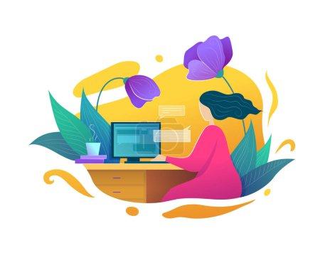 Illustration pour Freelance ou l'éducation en ligne à la maison concept dans le style plat. Travailler avec ordinateur femme écriture blog. Détente et mode de vie à domicile illustration vectorielle. Blogging et bannière des médias sociaux - image libre de droit
